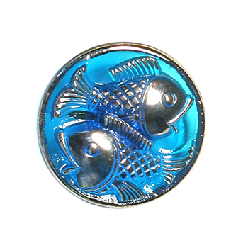 22mm Czech Glass Button with 2 Fish Design - Blue Iridescent with Glass Shank
