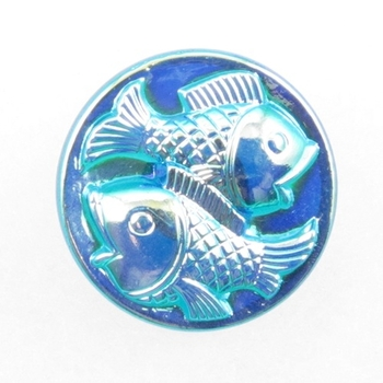 22mm Czech Glass Button with 2 Fish Design - Dark Blue and Silver | Hand-pressed Vintage Style Button with Glass Shank