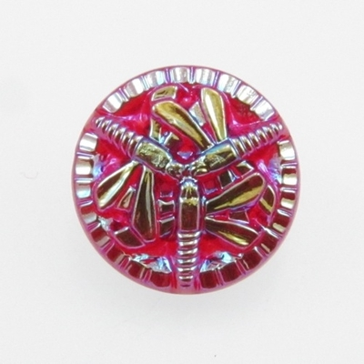 18mm Red Czech Glass Button with 3 Vitrail Dragonfly | Hand-pressed Vintage Style Button with Glass Shank