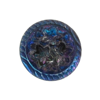 14mm Blue Purple Vitrail 3 Flower Czech Glass Button | Hand-pressed Vintage Style Button with Glass Shank