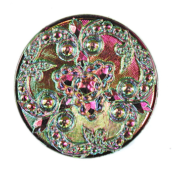 Czech Glass Buttons pink & green metallic iridescent beautifully detailed mandala with glass shank 32mm | Czech Glass Buttons