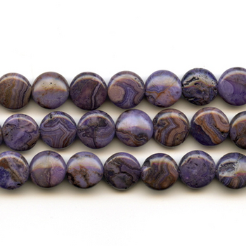 12mm Coin Crazy Lace Agate Stone Bead - Purple Dyed | Natural Semiprecious Gemstone | Harlequin Beads and Jewelry