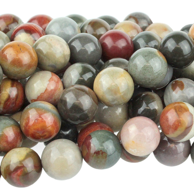 Polychrome Jasper 10mm round red, browns and grey | Polychrome Jasper