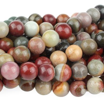 Polychrome Jasper 8mm round red, browns and grey | Polychrome Jasper