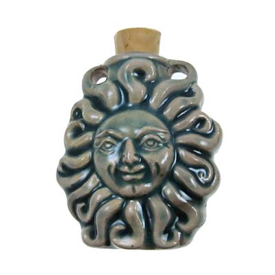 33 x 37mm Sun Handmade Clay Bottle - Blue Green Raku Glaze   Clay Vessel Pendant for Essential Oil or Fragrance