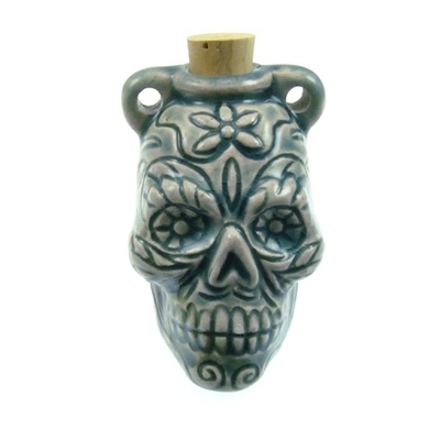 46 x 27mm Day of the Dead Skull Handmade Clay Bottle - Blue Green Raku Glaze | Clay Vessel Pendant for Essential Oil or Fragrance
