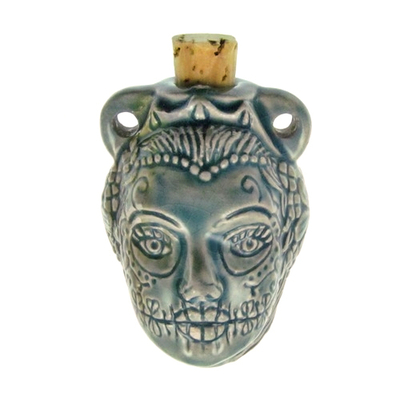 43 x 32mm Female Day of the Dead Skull Handmade Clay Bottle - Blue Green Raku Glaze | Clay Vessel Pendant for Essential Oil or Fragrance