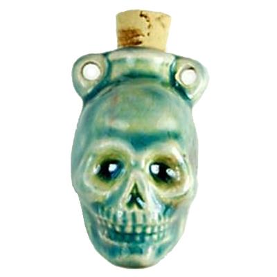 42 x 33mm Skull Handmade Clay Bottle - Blue Green Raku Glaze   Clay Vessel Pendant for Essential Oil or Fragrance