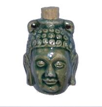 42 x 32mm Buddha Handmade Clay Bottle - Blue Green Raku Glaze | Clay Vessel Pendant for Essential Oil or Fragrance