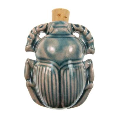 36 x 46mm Scarab Handmade Clay Bottle - Blue Green Raku Glaze | Clay Vessel Pendant for Essential Oil or Fragrance