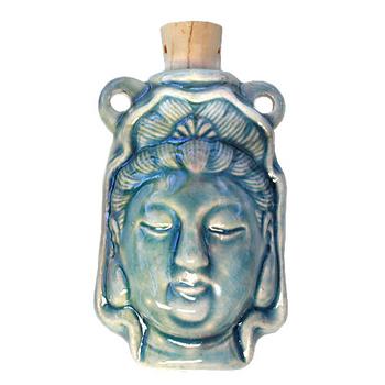 27 x 42mm Kuan Yin Handmade Clay Bottle - Blue Green Raku Glaze | Clay Vessel Pendant for Essential Oil or Fragrance