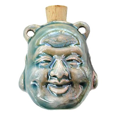 39 x 45mm Laughing Buddha Handmade Clay Bottle - Blue Green Raku Glaze | Clay Vessel Pendant for Essential Oil or Fragrance