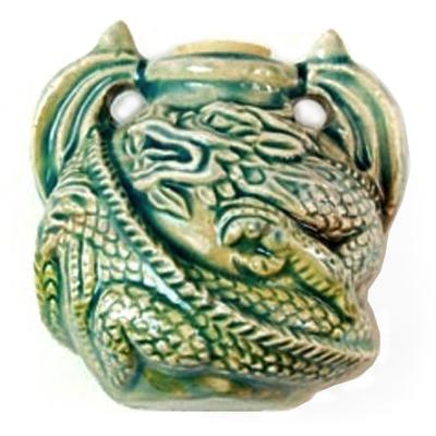 37mm Curled Dragon Handmade Clay Bottle - Blue Green Raku Glaze | Clay Vessel Pendant for Essential Oil or Fragrance