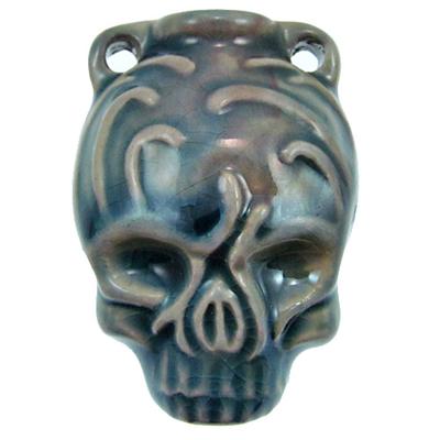 39 x 28mm Skull Handmade Clay Bottle - Blue Green Raku Glaze | Clay Vessel Pendant for Essential Oil or Fragrance