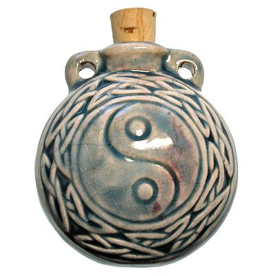 42 x 50mm Yin Yang Handmade Clay Bottle - Blue Green Raku Glaze | Clay Vessel Pendant for Essential Oil or Fragrance