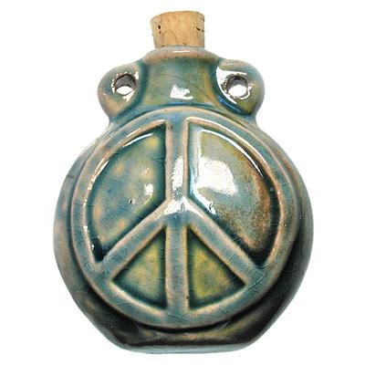 42 x 50mm Peace Sign Handmade Clay Bottle - Blue Green Raku Glaze | Clay Vessel Pendant for Essential Oil or Fragrance