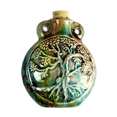 50 x 41mm Tree of Life Handmade Clay Bottle - Blue Green Raku Glaze | Clay Vessel Pendant for Essential Oil or Fragrance