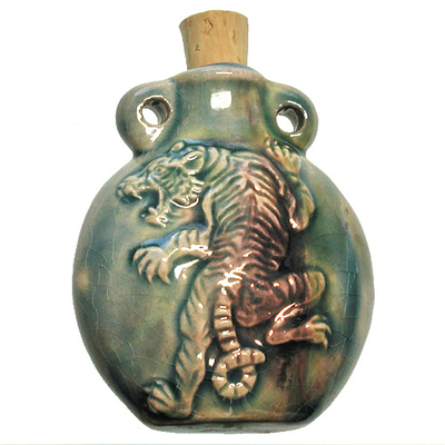 42 x 50mm Tiger Handmade Clay Bottle - Blue Green Raku Glaze | Clay Vessel Pendant for Essential Oil or Fragrance