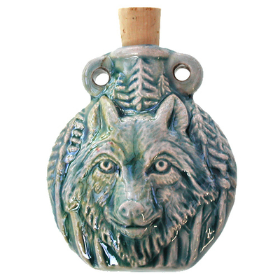 49 x 42mm Wolf Handmade Clay Bottle - Blue Green Raku Glaze | Clay Vessel Pendant for Essential Oil or Fragrance