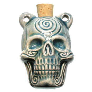 30 x 42mm Sprial Skull Handmade Clay Bottle - Blue Green Raku Glaze | Clay Vessel Pendant for Essential Oil or Fragrance