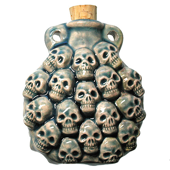 Multi Skull Handmade Clay Bottle - Blue Green Raku Glaze | Clay Vessel Pendant for Essential Oil or Fragrance