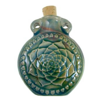 50 x 42mm Lotus Flower Handmade Clay Bottle - Blue Green Raku Glaze | Clay Vessel Pendant for Essential Oil or Fragrance