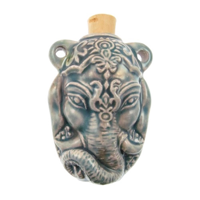 35 x 47mm Sitting Ganesh Handmade Clay Bottle - Blue Green Raku Glaze | Clay Vessel Pendant for Essential Oil or Fragrance