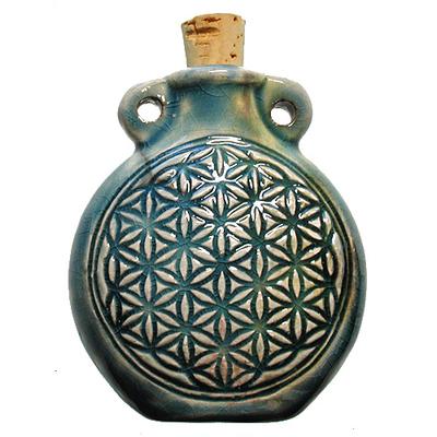 42 x 50mm Flower of Life Handmade Clay Bottle - Blue Green Raku Glaze | Clay Vessel Pendant for Essential Oil or Fragrance