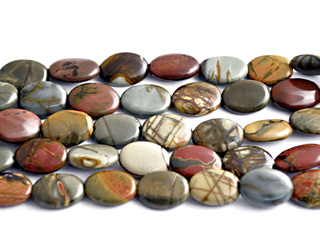 10 x 14mm Oval Red Creek Jasper Stone Bead - Mixed Earth Tone Colors | Natural Semiprecious Gemstone