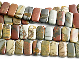 10 x 20mm Double Drill Rectangle Red Creek Jasper Stone Bead - Mixed Earth Tone Colors | Natural Semiprecious Gemstone