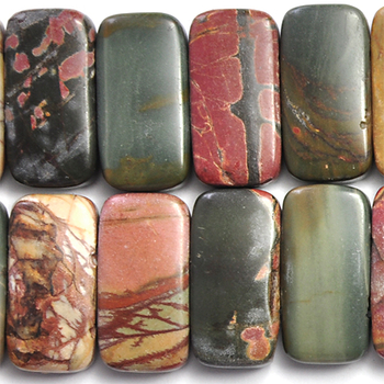 10 x 20mm Matte Red Creek Jasper Double Drill Rectangle Stone Bead - Mixed Earth Tone Colors | Natural Semiprecious Gemstone