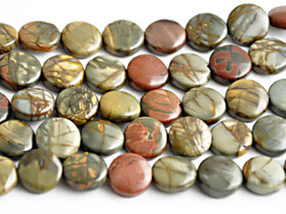 12mm Coin Red Creek Jasper Stone Bead - Mixed Earth Tone Colors | Natural Semiprecious Gemstone
