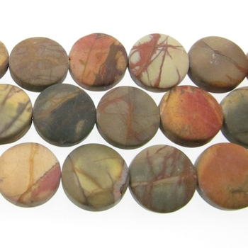 12mm Matte Red Creek Jasper Coin Stone Beads - Mixed Earth Tone Colors | Natural Semiprecious Gemstone