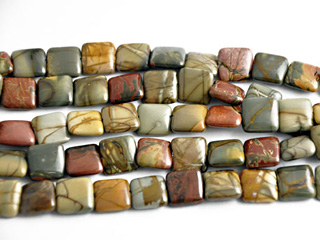12mm Square Red Creek Jasper Stone Bead - Mixed Earth Tone Colors | Natural Semiprecious Gemstone