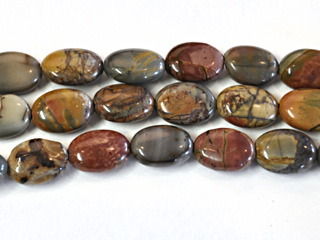15 x 30mm Oval Red Creek Jasper Stone Bead - Mixed Earth Tone Colors | Natural Semiprecious Gemstone