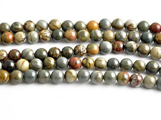 4mm Round Red Creek Jasper Stone Bead - Mixed Earth Tone Colors | Natural Semiprecious Gemstone