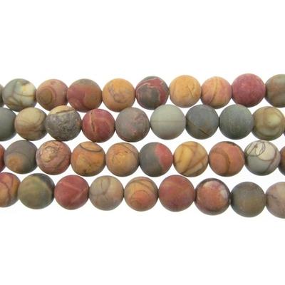 4mm Matte Red Creek Jasper Round Stone Beads - Mixed Earth Tone Colors | Natural Semiprecious Gemstone