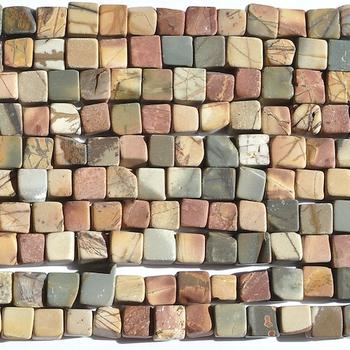 6mm Cube Matte Red Creek Jasper Stone Bead - Mixed Earth Tone Colors | Natural Semiprecious Gemstone