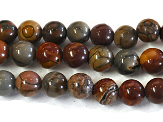 6mm Round Red Creek Jasper Stone Bead - Mixed Earth Tone Colors | Natural Semiprecious Gemstone