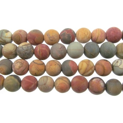 6mm Matte Red Creek Jasper Round Stone Beads - Mixed Earth Tone Colors | Natural Semiprecious Gemstone