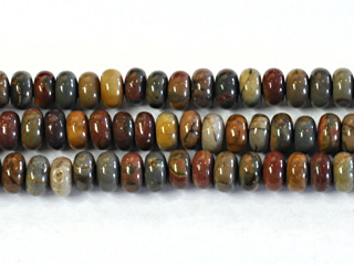 6mm Rondell Red Creek Jasper Stone Bead - Mixed Earth Tone Colors | Natural Semiprecious Gemstone