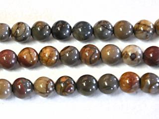 8mm Round Red Creek Jasper Stone Bead - Mixed Earth Tone Colors | Natural Semiprecious Gemstone