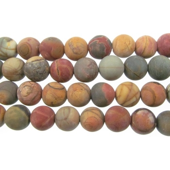 8mm Matte Red Creek Jasper Round Stone Beads - Mixed Earth Tone Colors | Natural Semiprecious Gemstone