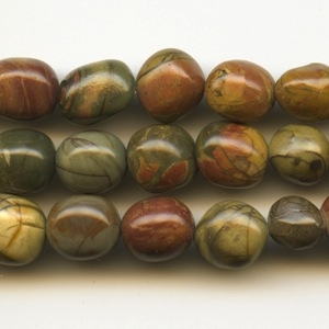 8 x 10mm Red Creek Jasper Stone Nugget Bead - Mixed Earth Tone Colors | Natural Semiprecious Gemstone