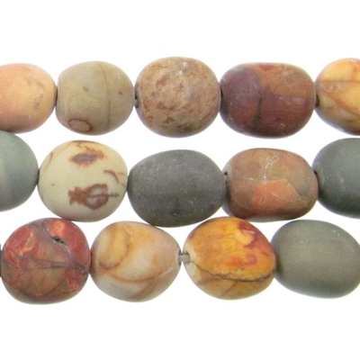 8 x 10mm Matte Red Creek Jasper Stone Nugget Beads - Mixed Earth Tone Colors | Natural Semiprecious Gemstone