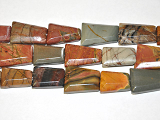 20 x 25mm Faceted Trapezoid Red Creek Jasper Stone Bead - Mixed Earth Tone Colors   Natural Semiprecious Gemstone   Harlequin Beads and Jewelry