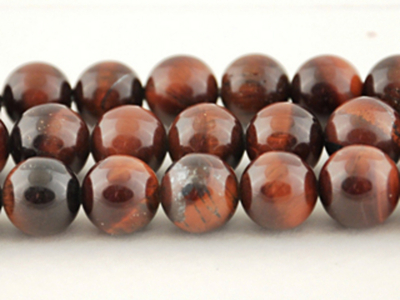 6mm Round Red Tiger Eye Stone Bead - Dark Red | Natural Semiprecious Gemstone