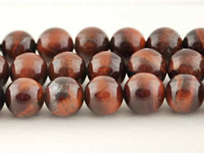 8mm Round Red Tiger Eye Stone Bead - Dark Red | Natural Semiprecious Gemstone