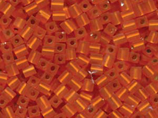 Japanese Miyuki Cube Glass Seed Bead Size 4mm - Orange - Silver Lined Matte Finish