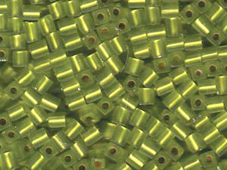 Japanese Miyuki Cube Glass Seed Bead Size 4mm - Chartreuse - Silver Lined Matte Finish